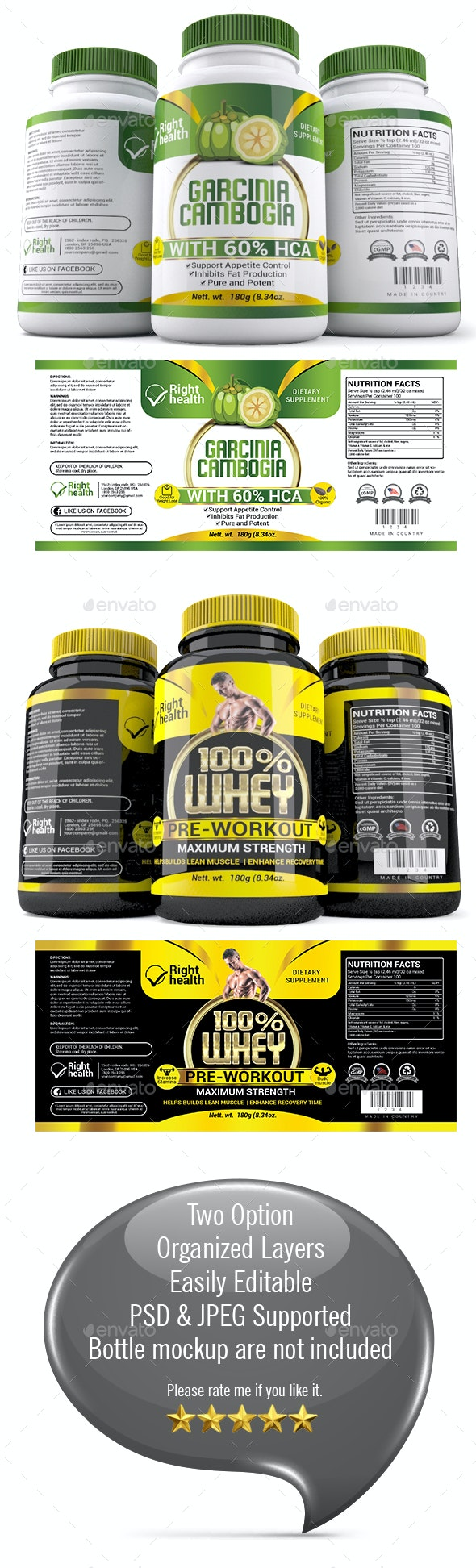 Supplement Label Templates 010 - Packaging Print Templates