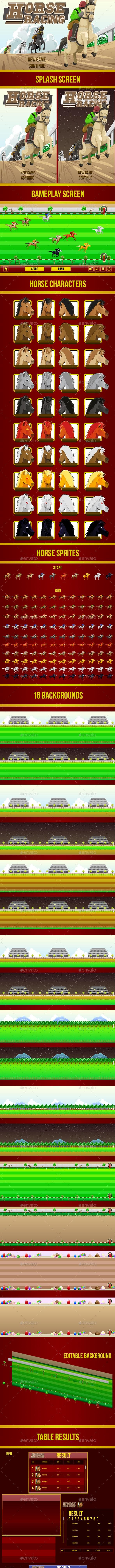 Horse Racing Game Assets - Sprites Game Assets