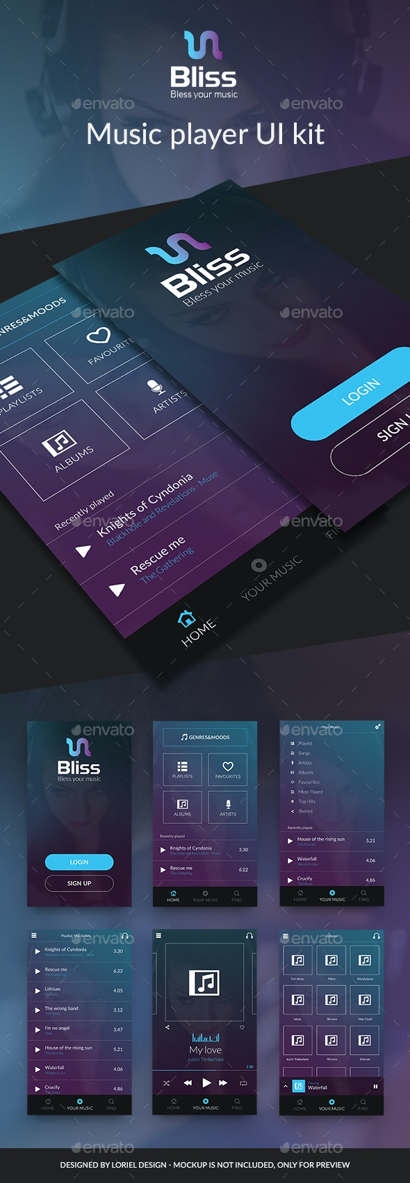 Bliss Mobile Ui Kit - Music player - User Interfaces Web Elements