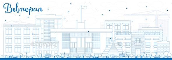Outline Belmopan Skyline with Blue Buildings. - Buildings Objects