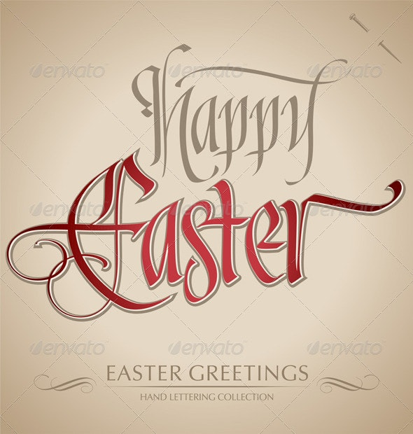 'Happy Easter' Hand Lettering (vector) - Seasons/Holidays Conceptual