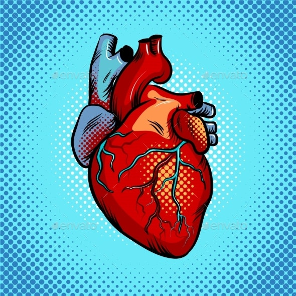 Human Heart Pop Art Style Vector Illustration - Miscellaneous Vectors