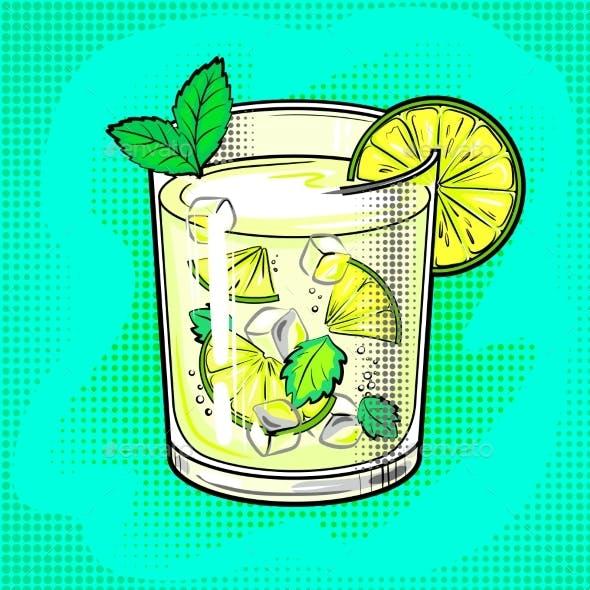 Mojito Cocktail Pop Art Vector Illustration