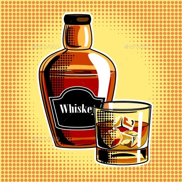 Whiskey Alcohol Drink Pop Art