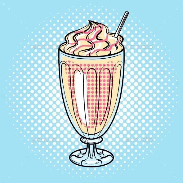 Milk Shake Pop Art Vector Illustration - Food Objects