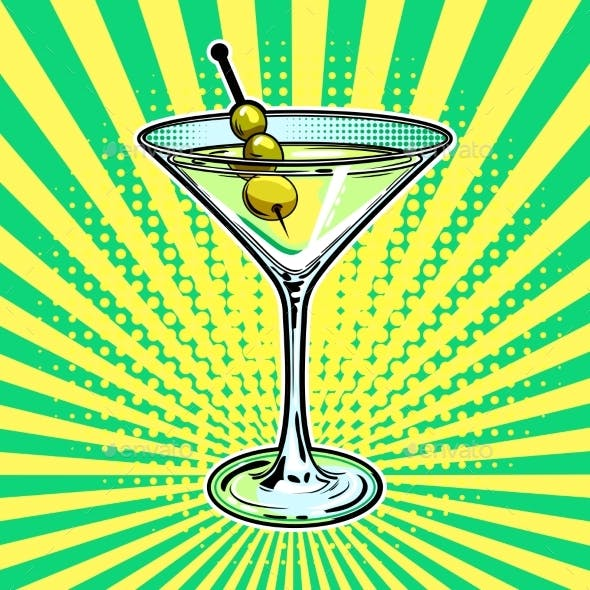 Liquor Alcohol Cocktail Pop Art Vector