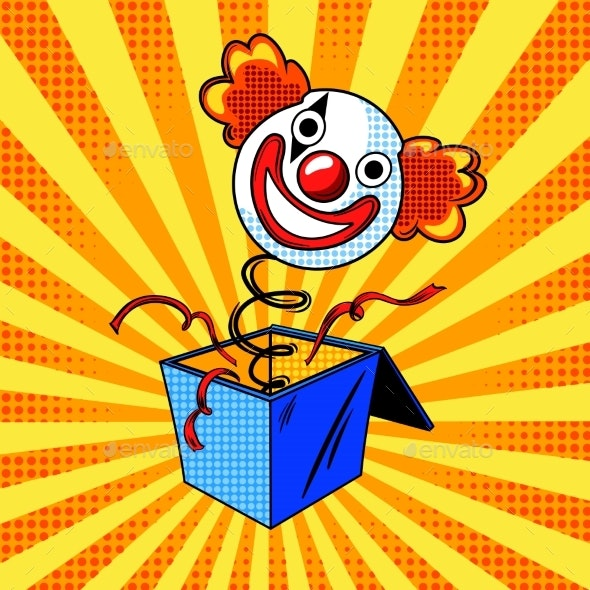 Toy Clown Head on Spring Comic Book Style - Man-made Objects Objects