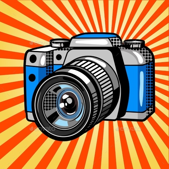 Camera Comic Book Style Vector - Man-made Objects Objects
