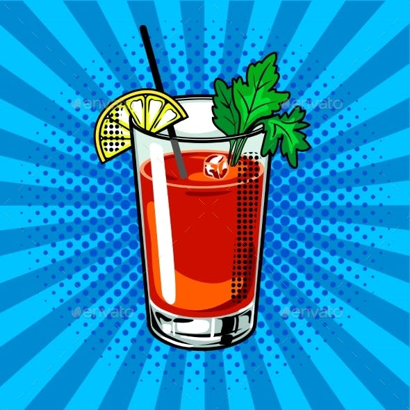 Bloody Mary Cocktail Pop Art Vector Illustration