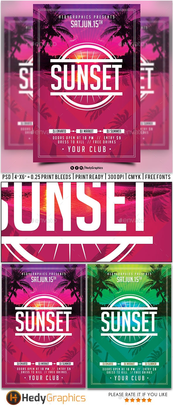 Sunset Flyer - Clubs & Parties Events