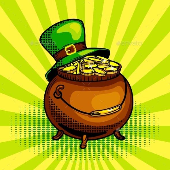 Pot of Gold Pop Art Vector Illustration