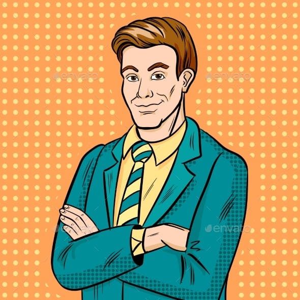 Businessman Smiling Pop Art