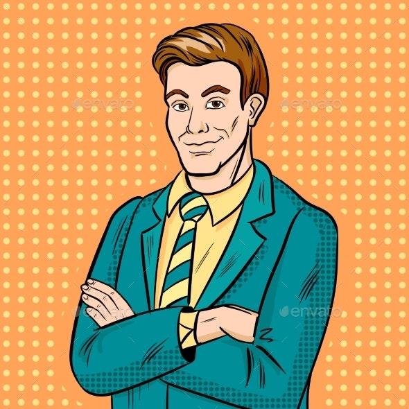 Businessman Smiling Pop Art - People Characters