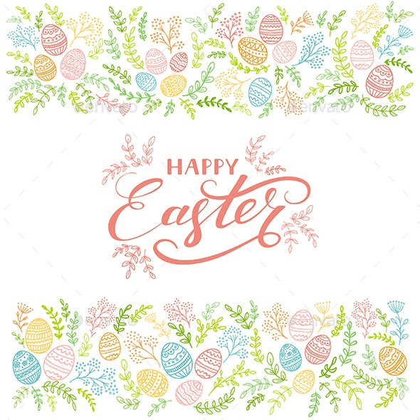 Colored Floral Elements and Lettering Happy Easter on White Background - Miscellaneous Seasons/Holidays