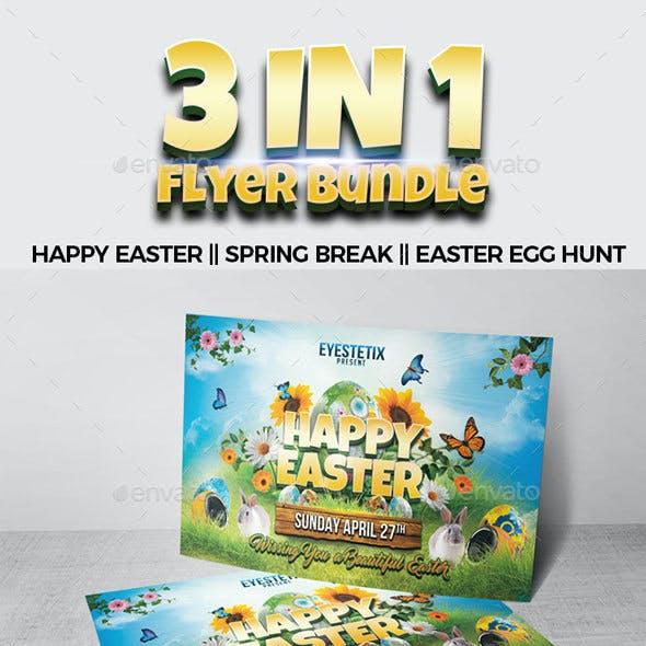 3 in 1 Flyer Bundle Happy Easter - Spring Break - Easter Egg Hunt