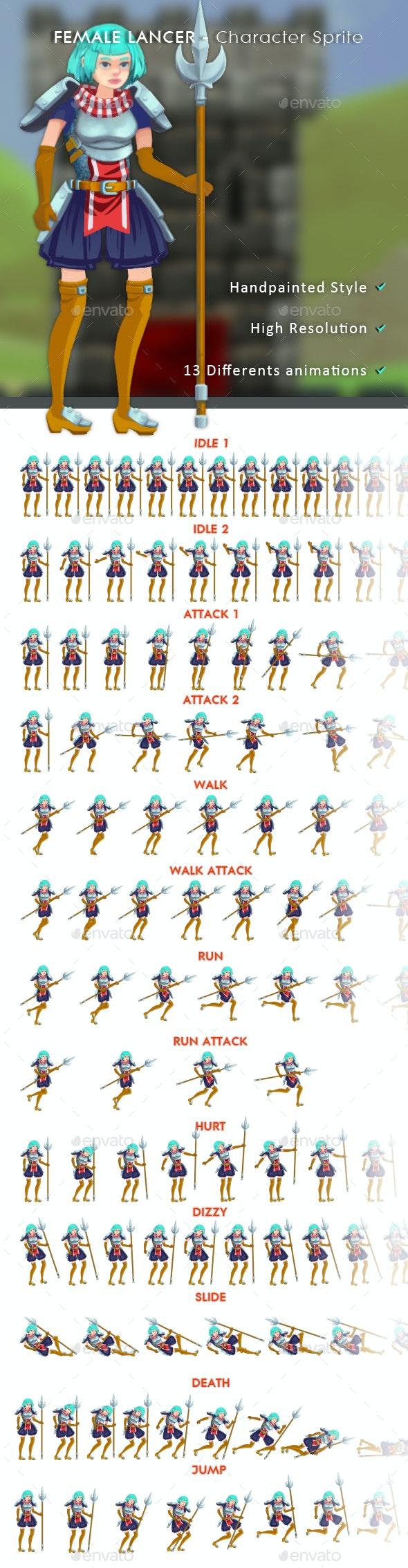 Female Lancer - Character Sprite - Sprites Game Assets