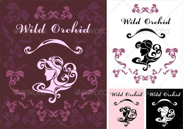 Wild Orchid logotype for perfumery or hair salon - Decorative Symbols Decorative