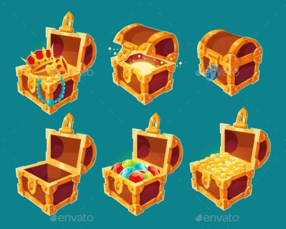 Collection of Wooden Chests with Treasures of Gold - Objects Vectors