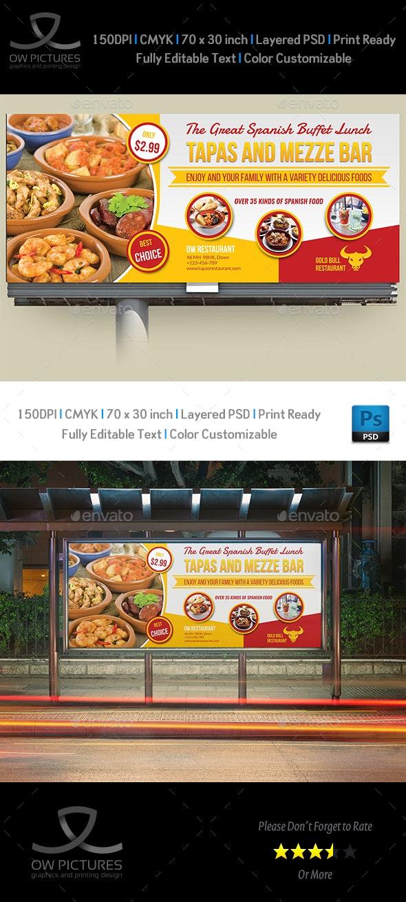 Restaurant Billboard Template Vol.10 - Signage Print Templates