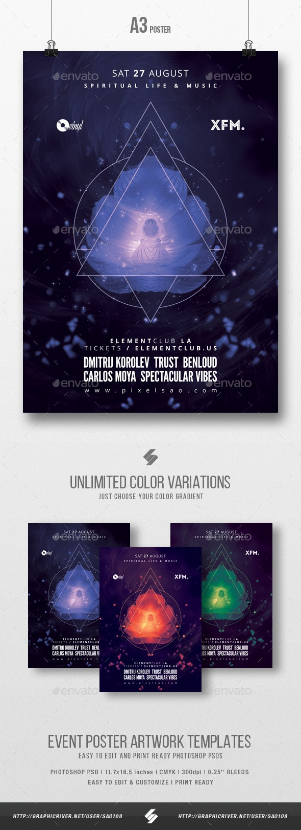 Spiritual Trance - Progressive Party Flyer / Poster Template A3 - Clubs & Parties Events