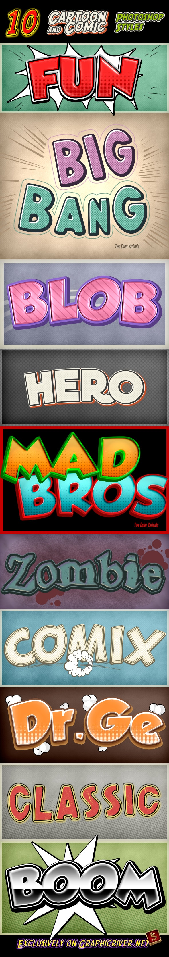 Cartoon and Comic Book Styles - Part 10 - Text Effects Styles