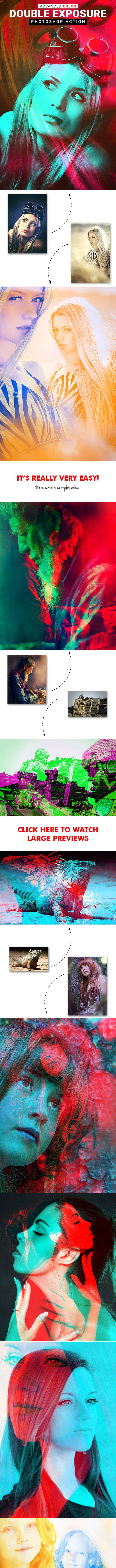 Advanced Color - Double Exposure Photoshop Action - Photo Effects Actions