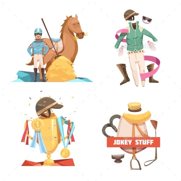 Horse Riding Retro Cartoon Compositions