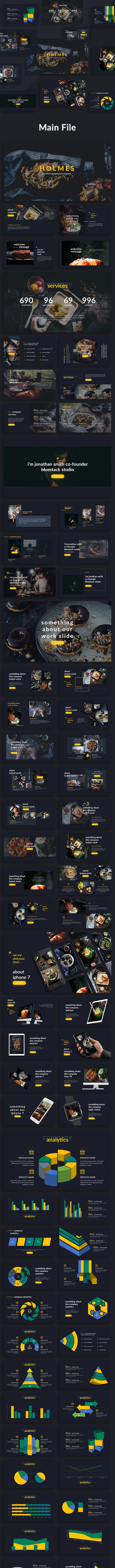 Holmes - Food Google Slide Template - Google Slides Presentation Templates