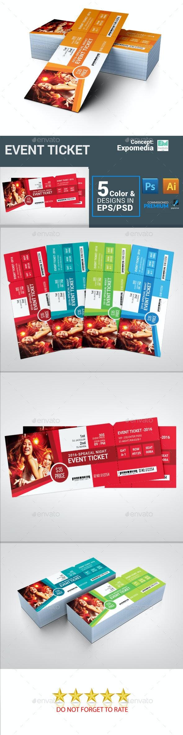 Ticket Event Ticket - Cards & Invites Print Templates