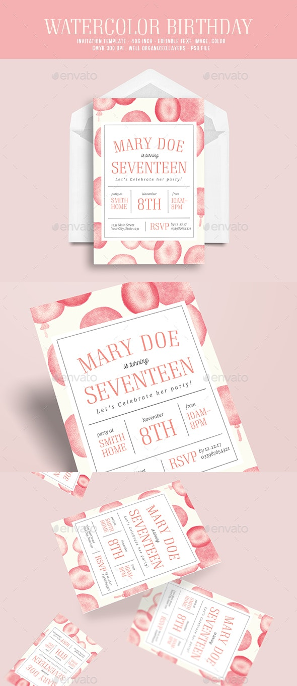Watercolor birthday party invitation - Birthday Greeting Cards