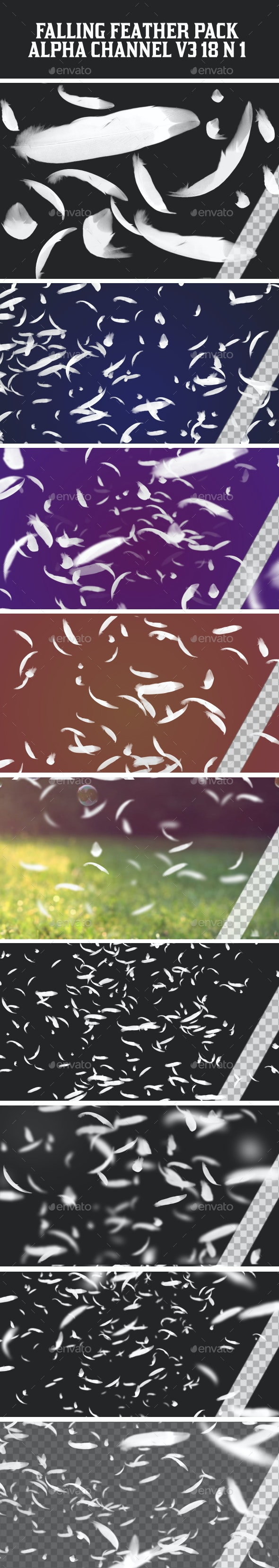 Falling Feather Pack V3 18 in 1 - Nature Backgrounds