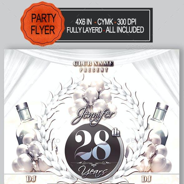 White Birthday Party Flyer