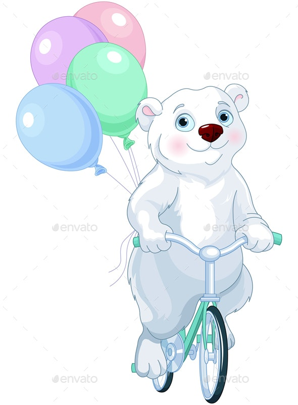 Polar Bear Riding a Bicycle with Balloons - Animals Characters