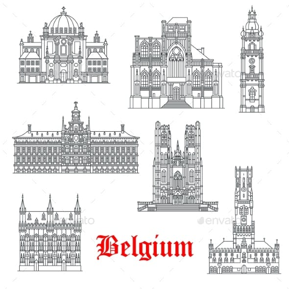 Architecture Buildings of Belguim Vector Icons