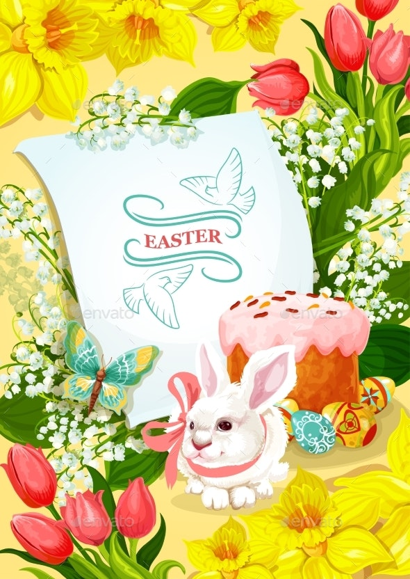 Easter and Egg Hunt Poster with Rabbit, Egg, Cake - Miscellaneous Seasons/Holidays