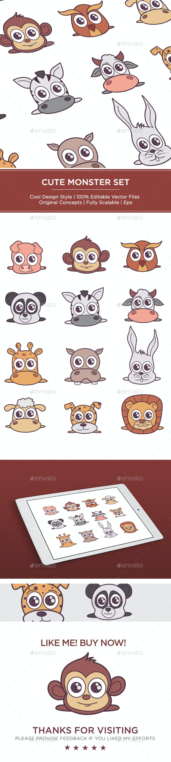 Fluffy Animal Set - Vectors