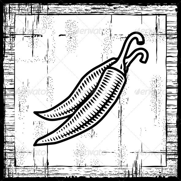 Retro Chili Pepper Black And White - Food Objects