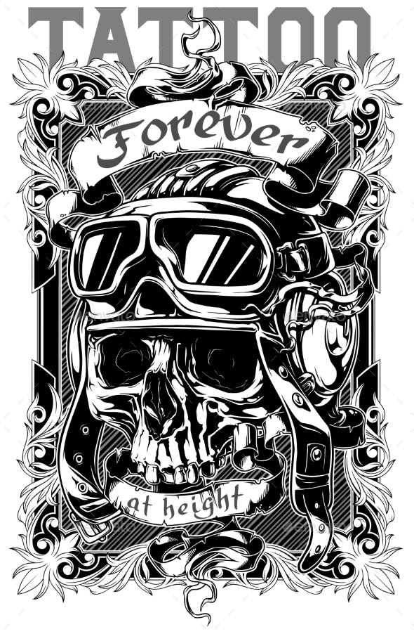 Graphic Tattoo Poster Design with Skull and Text - Tattoos Vectors