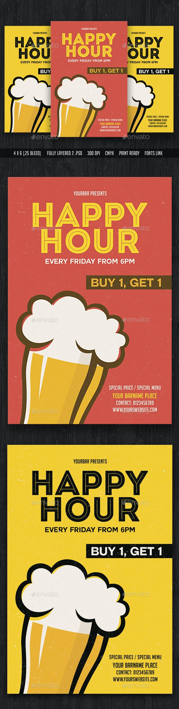 Happy Hour Flyer Template - Commerce Flyers