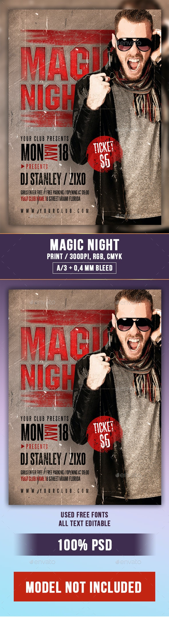 Magic Night Flyer PSD Template - Clubs & Parties Events