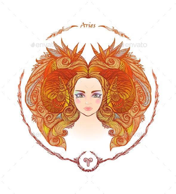 Zodiac Sign Portrait of a Woman Aries - Miscellaneous Vectors