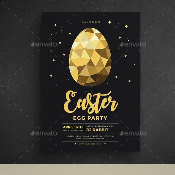 Gold Easter Egg Hunt Party Flyer