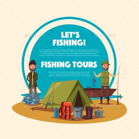 Fishing Tour Cartoon Poster with Fisherman Camp