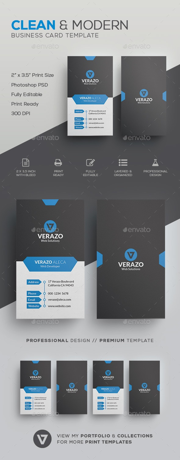 Clean Vertical Business Card Template - Corporate Business Cards