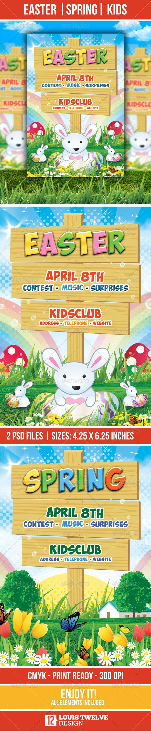 Easter Kids - Spring - Flyer Template - Flyers Print Templates