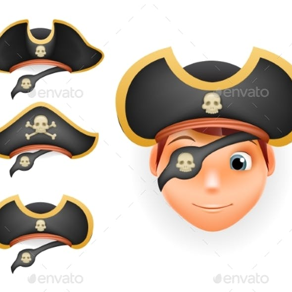 Pirate Hats Set Realistic Head Isolated Template