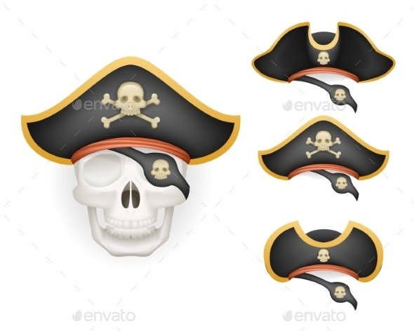Skull with Pirate Hats Set Realistic Head Isolated - Miscellaneous Characters