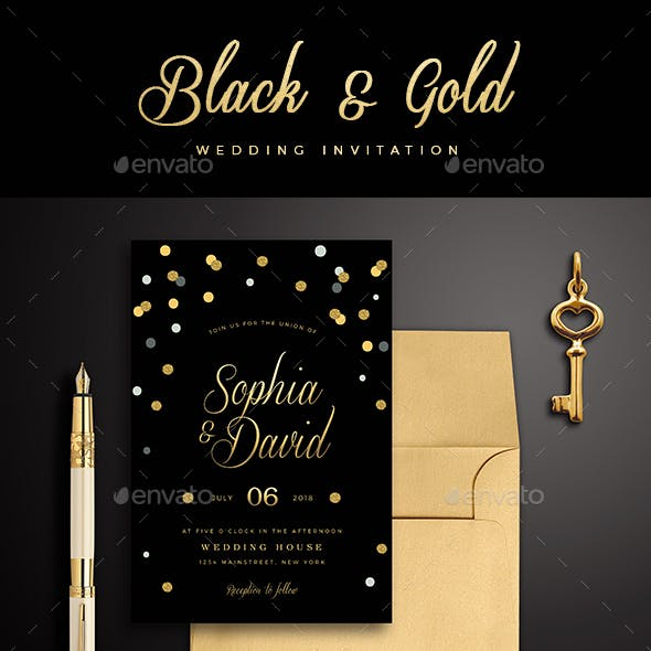 Black & Gold Wedding Invitation