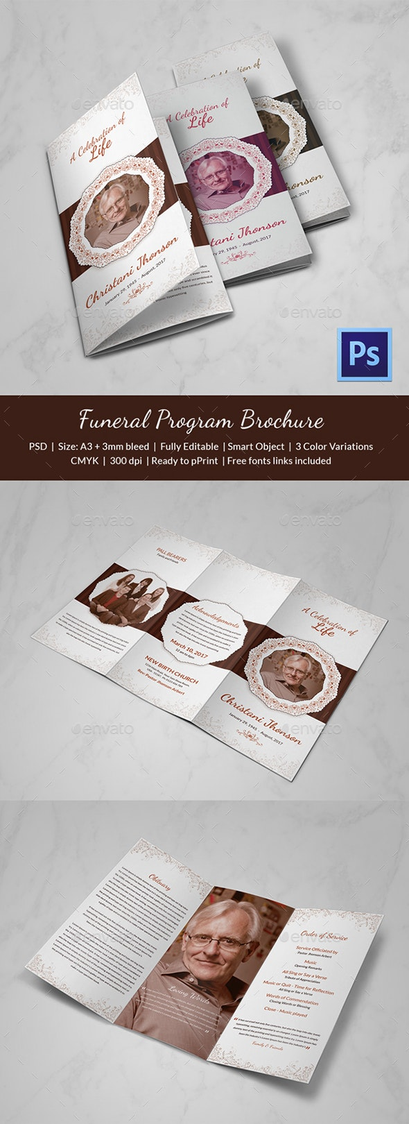 Trifold Funeral Program Template - Print Templates