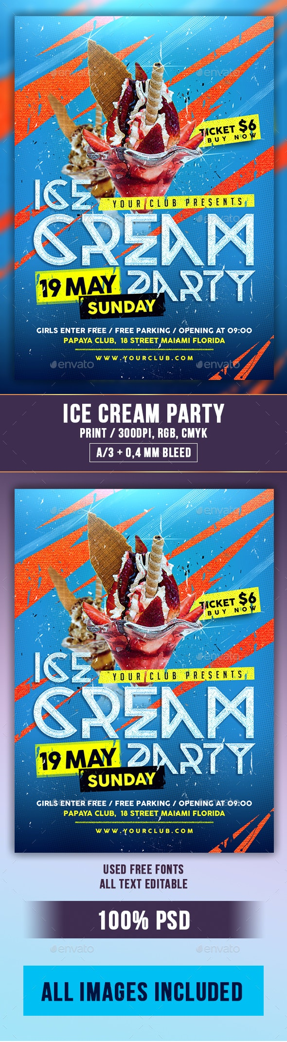 Ice Cream Party Flyer PSD Template - Clubs & Parties Events